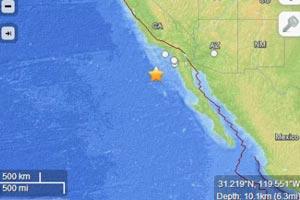 美国加州海域发生两次6级以上地震