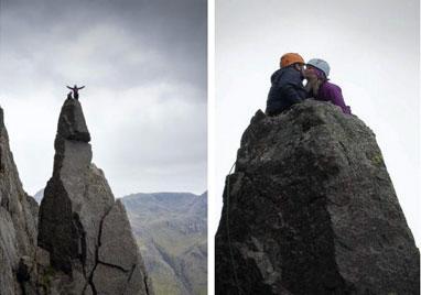 英国男子惊险攀爬高岩顶 向女友浪漫求婚